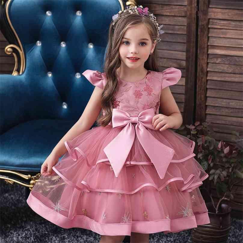 Flower Girls Wedding Dress For Elegant Lace Princess Kids es Children Evening Party Ball Gown 4 5 6 8 10 Year 210727