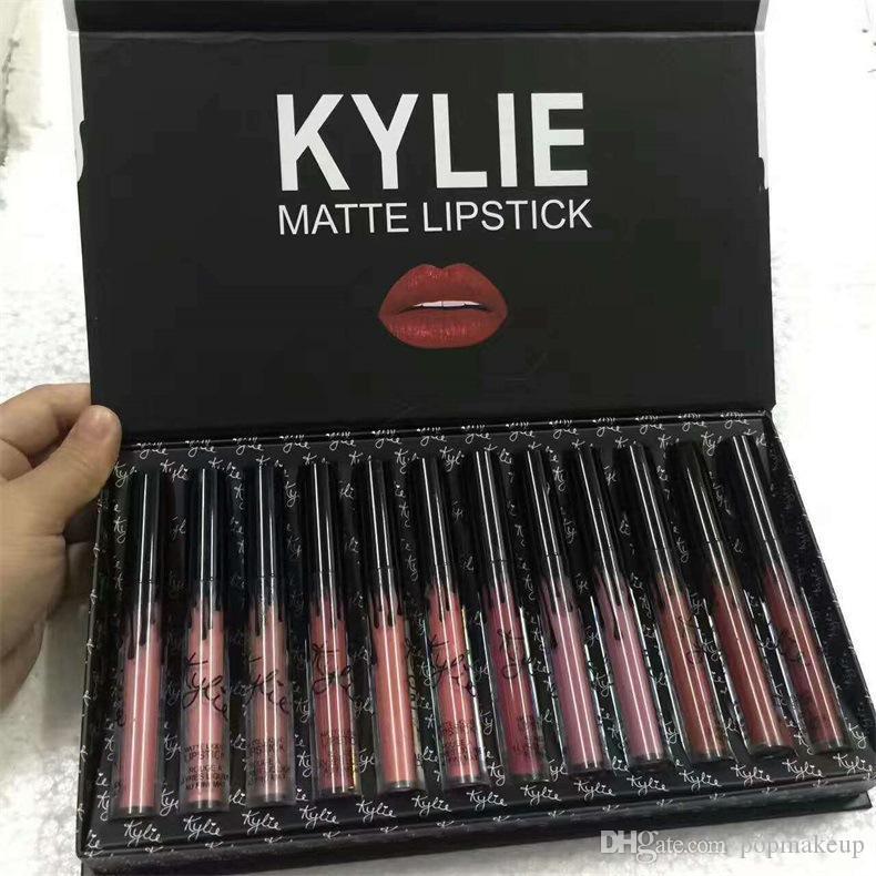 Kylie Jenner Dudak Parlatıcısı Güz Brithday Kyshadow Fırtına 12 Renkler Mat Sıvı Ruj Kozmetik 12 adet Lipgloss Set