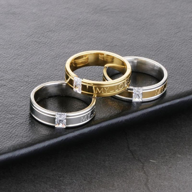 Романтическое Выгравированное письмо Моя любовь Циркон Камень Кольцо Палец для Пар Золотой Серебряный Цвет Свадьба Кольца Обручальные Ювелирные Изделия