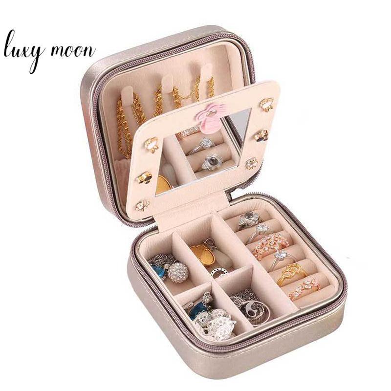 Kosmetische Taschen Koffer Tragbare Universal Schmuck Fall Box PU Leder Frauen Kosmetik Reise Reißverschluss Lagerung Für Halsketten Ring Ohrringe ZD212