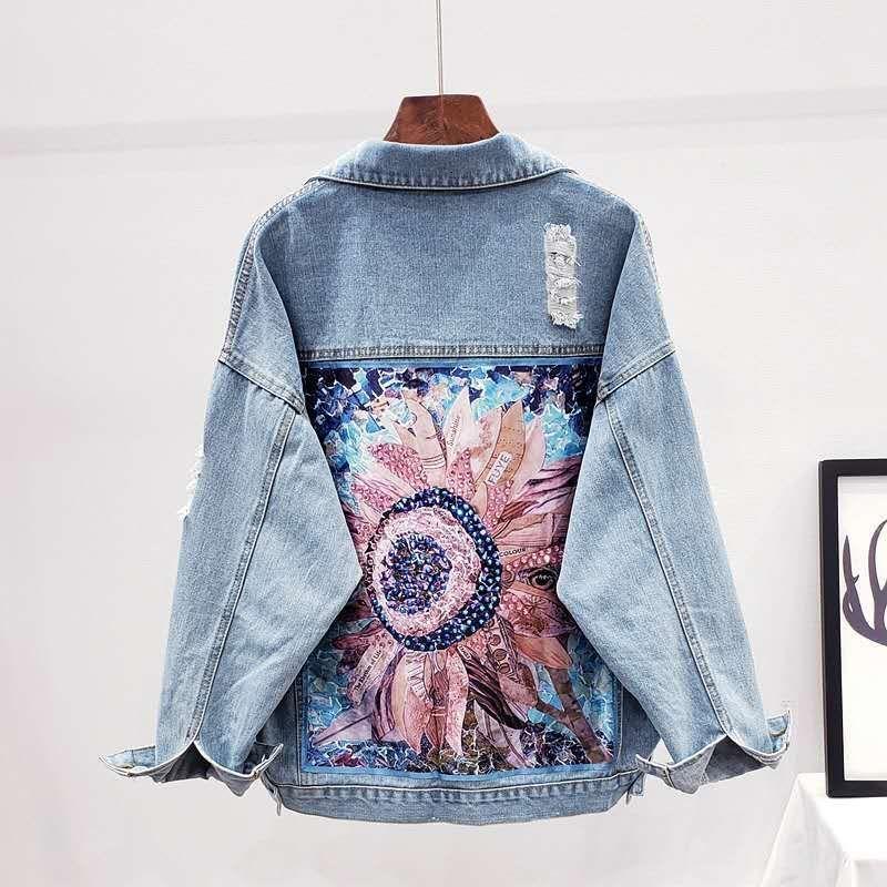 Women's Jackets Jaqueta jeans feminina estilo streetwear, casaco solto de cowboy com abertura diamantes, para primavera e outono L6EW