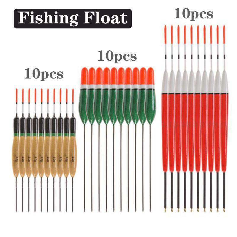 Acessórios de pesca 10 pcs bobber flutuadores conjunto bóia 2G / 3G / 4G platano madeira float antena de cortiça peche