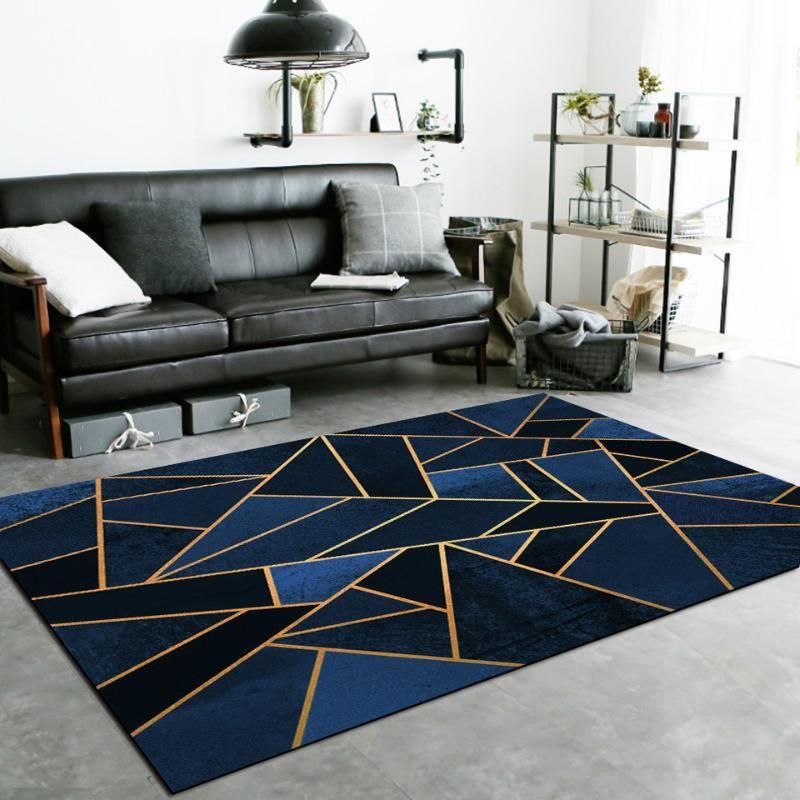 Геометрические линии Ковры для современной гостиной Синий Черный Серый Золотой Зеленый Желтый Треугольный Мраморные Ковры Nordic Ins Домашний декор