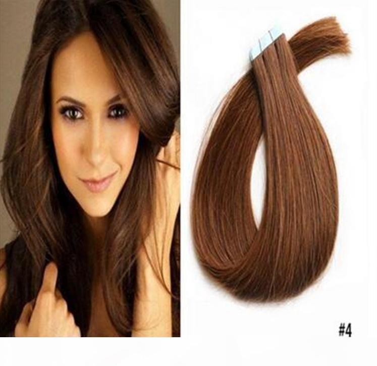9A Brezilyalı Bant Saç Uzatma 100g PU Cilt Atkı Saç Uzantıları Düz Stil Bant Saç Uzantıları