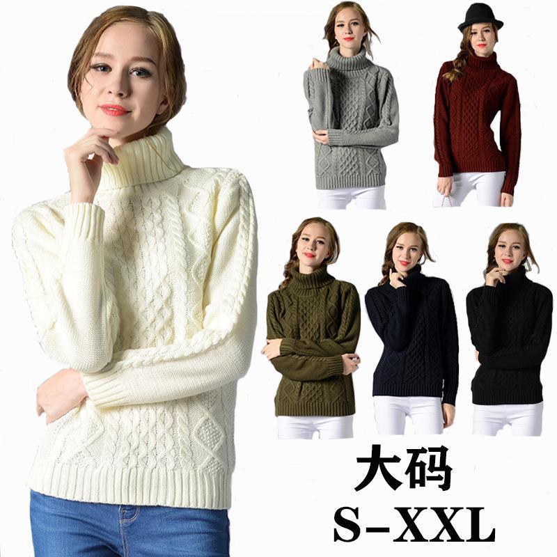 Frauenpullover plus Größen-Winter-Kleidung für Frauen Rollkragenpullover langärmliges Kabelboden