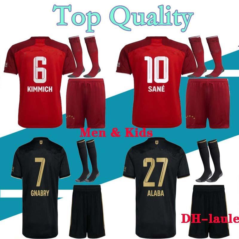 성인과 어린이 20 21 축구 유니폼 홈 Lewandowski Muller 2020 2021 멀리 Tolisso Neuer 세트 축구 셔츠 크기 16-XXL