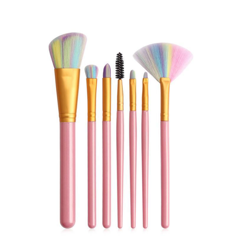 New Portable 7pcs Makeup Brushes Sets Cosmetic Brush Foundation Eyeshadow Eyeliner Lip Brushes Colorful Hair Make up Brush Kits