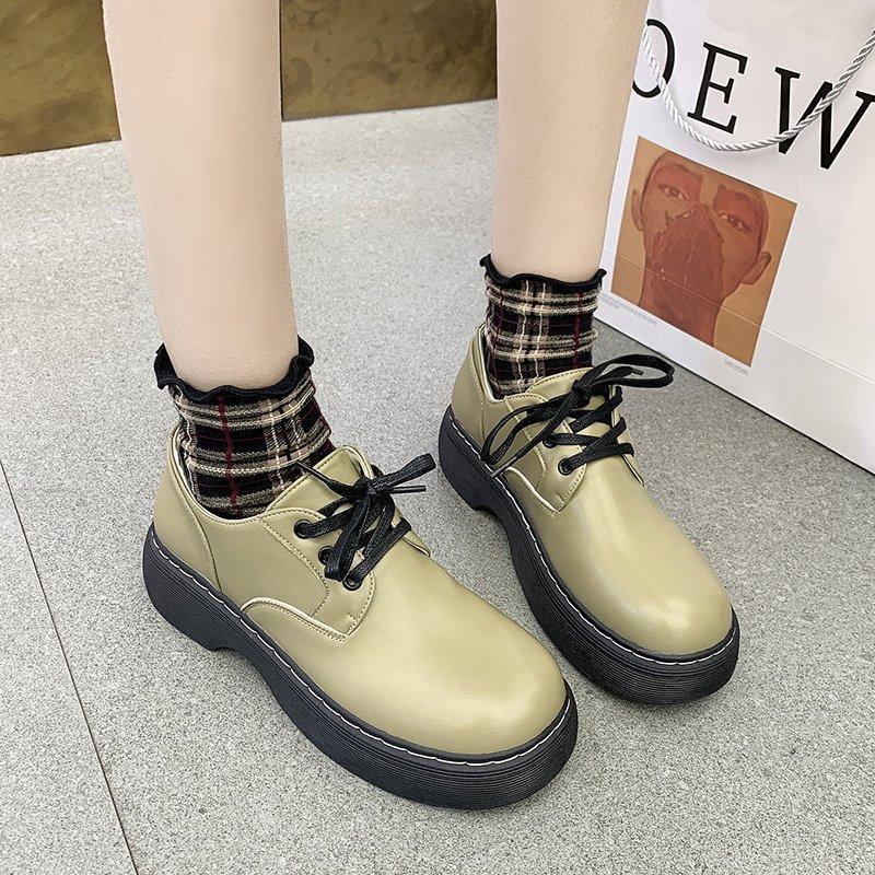 2021 Bahar Kadın Oxford Ayakkabı Deri Platformu Ayakkabı Siyah Dantel Yukarı Rahat Shoesfemale Dikiş Lolita Ayakkabı Muje 8923n