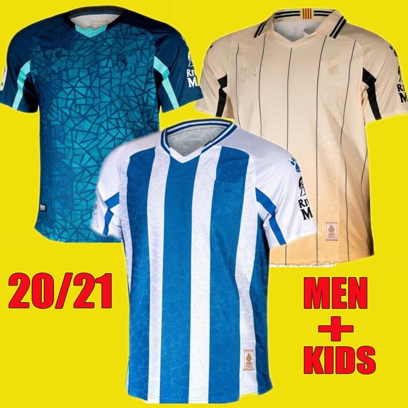 20 21 RCD Espanyol Футбольные трикотажки Wu Lei 2020 2021 S. Darder Rosales David Lopez Marc Roca Футбольная рубашка Мужчины Kids Kit