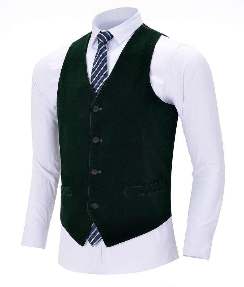 Men's Business Army Green Velvet Wool Single-breasted Cotton Suit Waistcoat For Wedding Formal Vest Groomsmen
