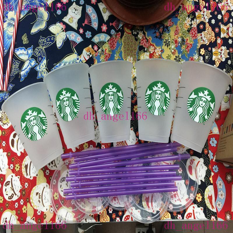 16 oz plástico bebida suco de suco e palha copo de café mágico personalizado starbucks copo de plástico transporte livre