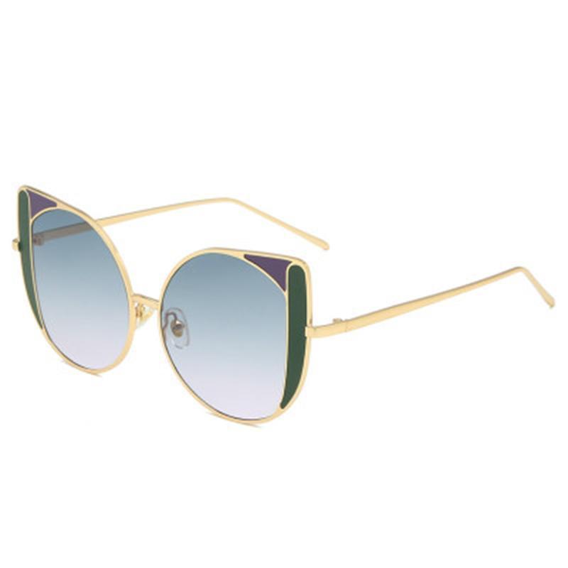 Óculos de sol gradient uv400 metal enorme cateye colorido multi cor mulheres