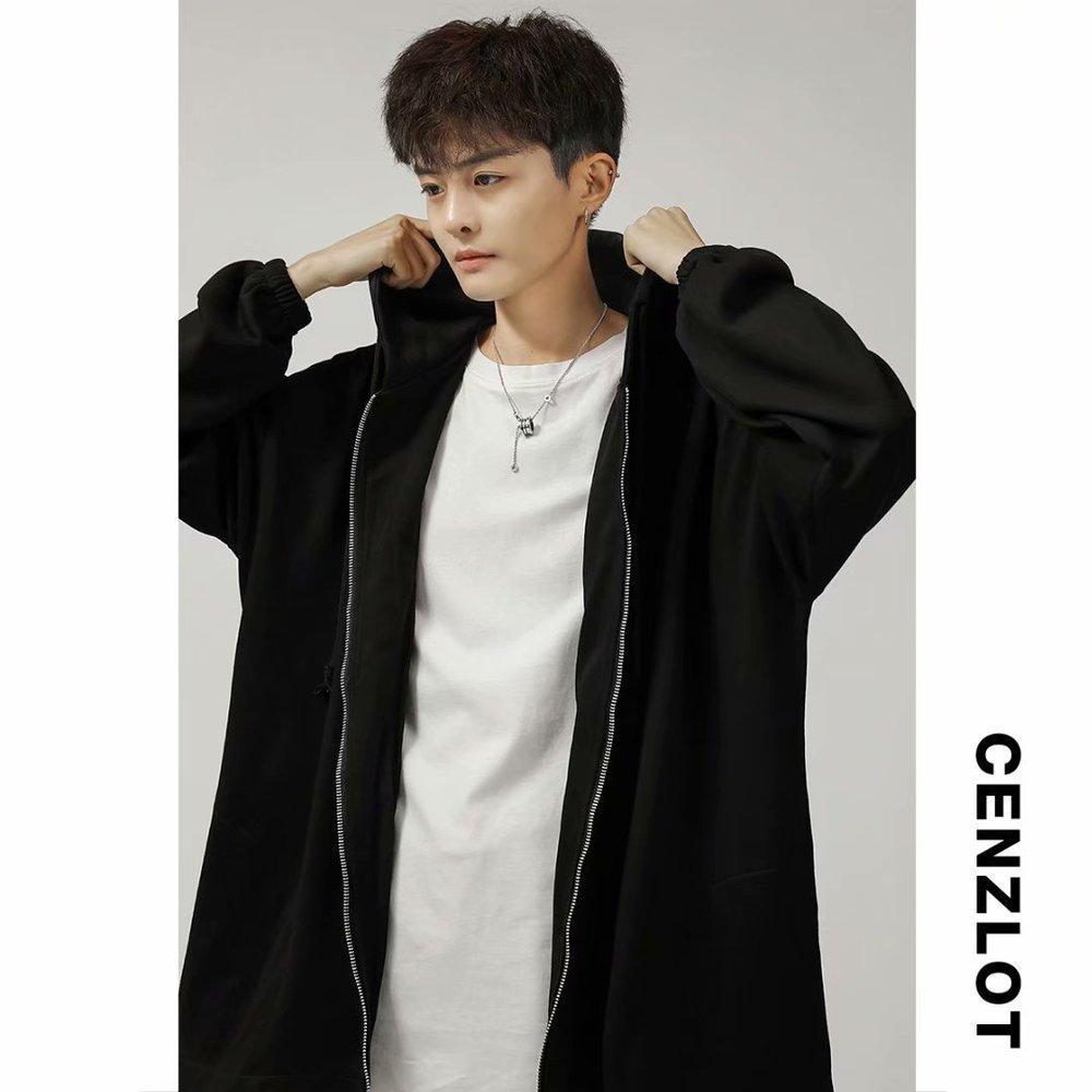 Temprano otoño suelto coreano chaqueta con capucha Cardigan de los hombres