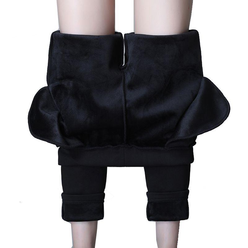 Yeni S-4XL 2021 Artı Boyutu Kış Kalem Pantolon Sıcak Kadife Pantolon İpli Orta Bel Pantolon Kadınlar Kalın Pantalon Femme F0K5