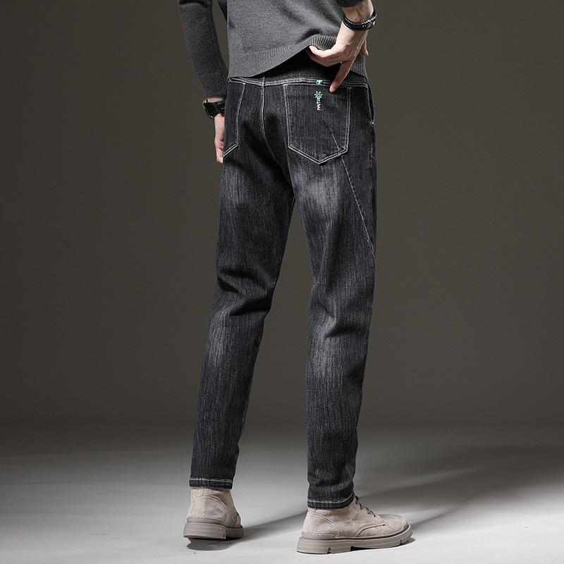 Autumn Straight Jeans Straight Winter Fashion Brand Brand Slip Split Molla e Black High-End Harlan Pants
