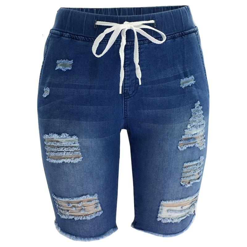2021 новая мода разорванная колена Длина джинсовой эластичной емкости середины талии байкер короткие джинсы женские летние повседневные шорты K3PG