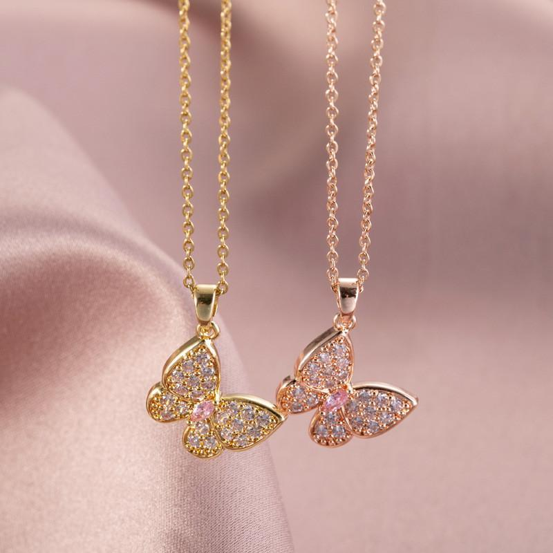 New Crystal Butterfly Pendant Necklace For Women Girls Stainless steel Chain Copper Animal Charms Choker Jewelry Party Gifts