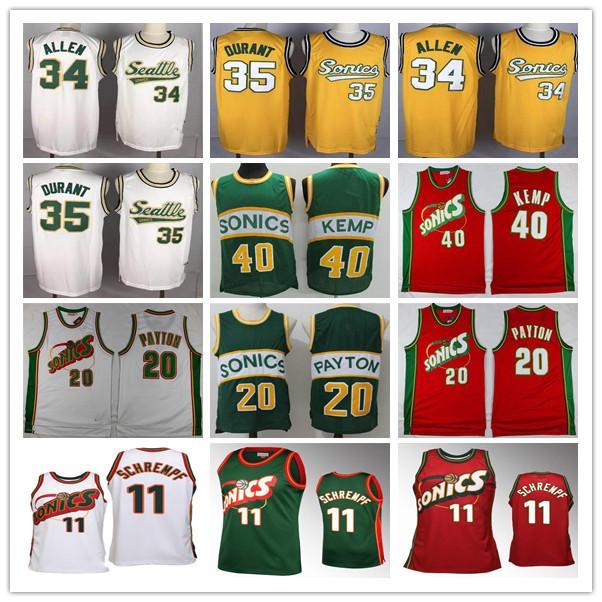 2019 Männer Basketball Shawn Kemp Jersey 40 Gary Payton 35 Ray SeattleSupersonics Allen 34 nähte grüne rotes Zuhause weg
