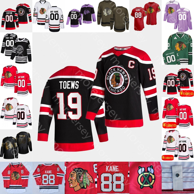 Personnalisé 2021 Chicago Blackhawks Jersey de hockey sur glace Alex Debrincat Patrick Kane Duncan Keith Brent Seabrook Andrew Shaw Toews Hull Mikita Dach