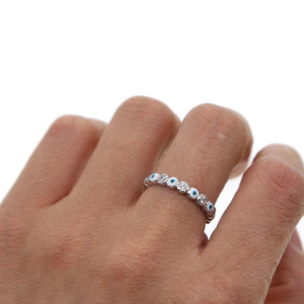 Argento colore 2019 fortunato malvagio occhio cz eternity anello banda anello banda carina bella ragazza donne zirconia malvagia occhio anelli anelli L0220
