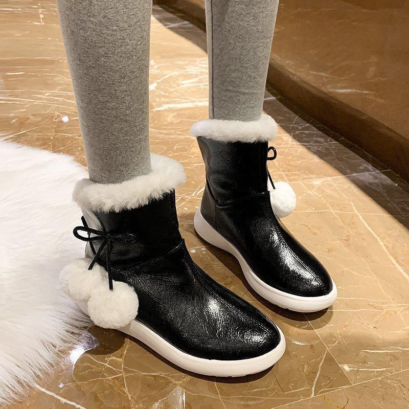 Boots 2021 Warm Fur Women Snow Cute Suede Winter Shoes Ball Female Fashion Non-Slip Casual Women's