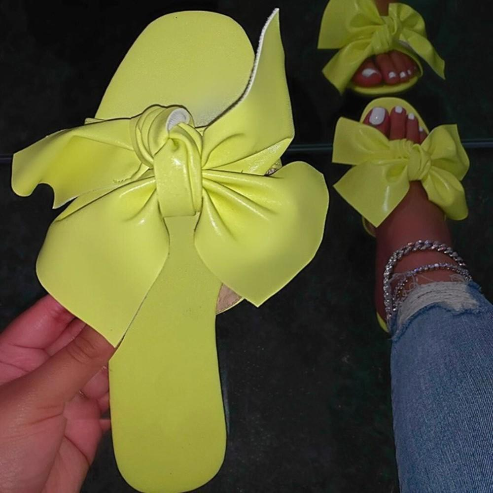 Kadın ayakkabıları 2020 yaz düz alt büyük rahat yay terlik