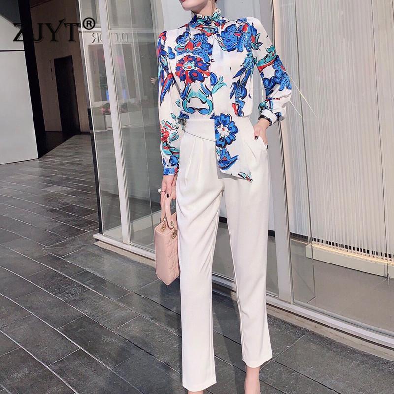 Femmes Runway Fashion Designer Spring Spring Sentille à 2 pièces Élégante chemise imprimée à manches longues et pantalons blancs costume travail Twinsets dame