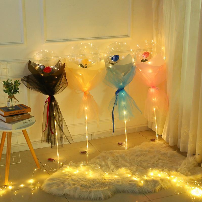 LED Aydınlık Balon Gül Buketi Şeffaf Kabarcık Büyülü Gül Bobo Küresel Sevgililer Günü Anneler Günü Gül Balon Hediyeler DHA4090