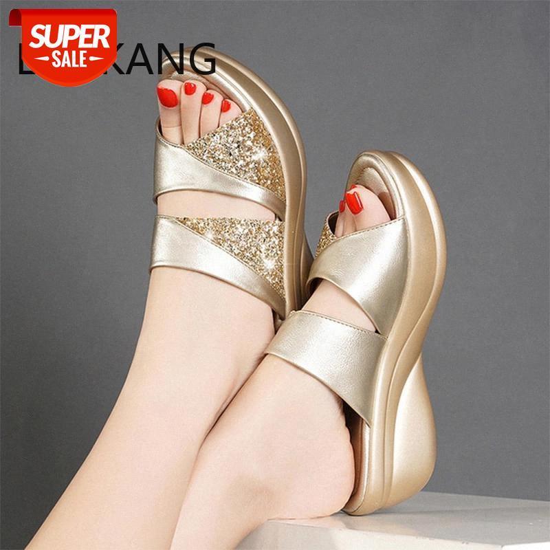 Mujeres Bling Sling Ladies PU Cuero Cuñas Zapatos planos Sandalias Casuales Femeninas Cómoda Plataforma Mujer afuera Zapatos # ZW3R
