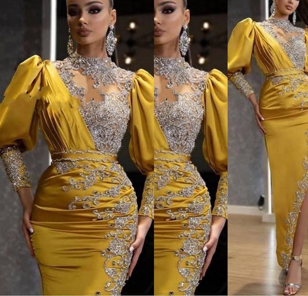 2021 Novo Bling Arábico Vestidos De Prom Sparkly Cristal Pescoço Alto Pescoço Manga Longa Sexy Lado Amarelo Split Split Ocasião Ankle Comprimento Da Noite