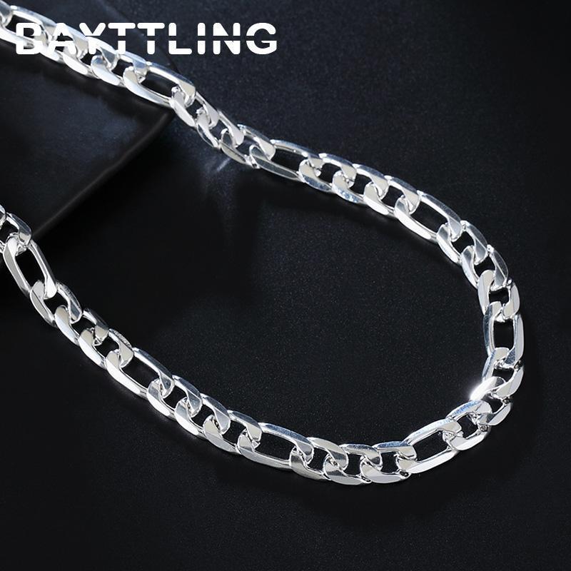 Chains Bayttling 20 polegadas 925 Sterling prata 8mm completo lateralmente figaro cadeia colar para mulher homem moda casamento presente jóias