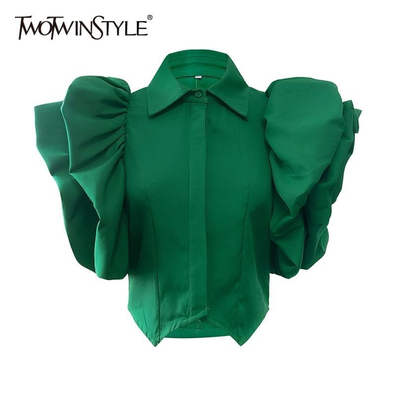 Twightwinstyle Vintage Ruffles Donne Camicetta Collare Collare a farfalla a manica corta Camicia allentata femminile Abbigliamento moda Molla Nuovo 210302