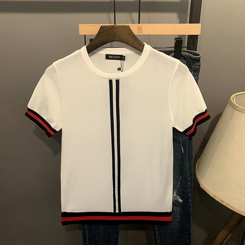 남성용 스웨터 2021 패션 남자 짧은 소매 티셔츠 O 넥 칼라 스트라이프 패치 워크 반팔 얼음 실크 스웨터 여름 의류
