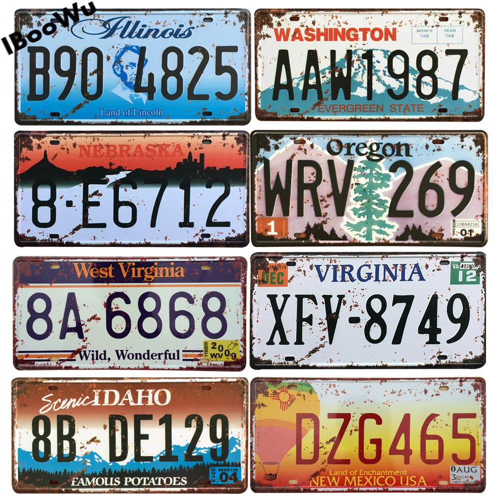 EE.UU. Texas New York California Coche Número de automóvil Metal Licenciamiento Decoración de la pared Vintage Poster Bar Pub Garaje Placas de estaño Placas 15x30cm Q0308