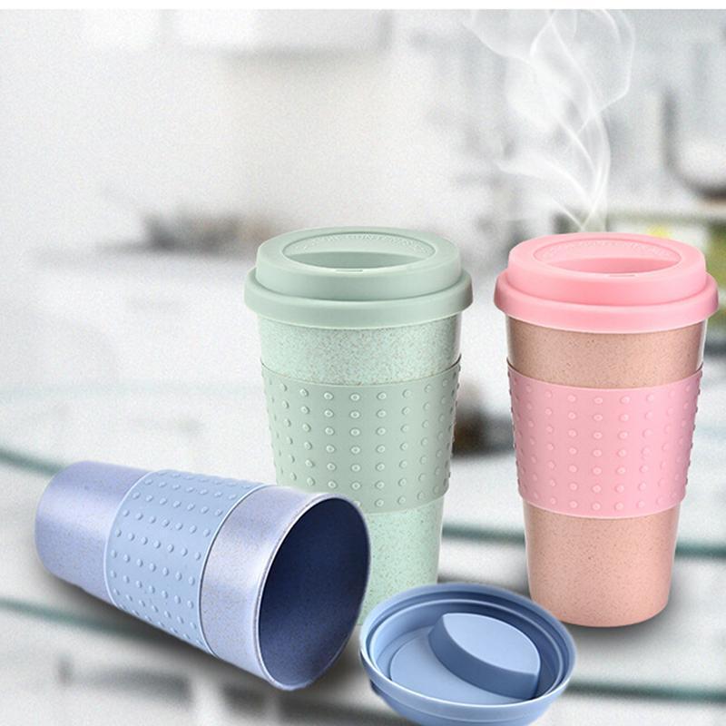 Taza de café de la paja de trigo Tazas de café con tapa de tapa Easy Cup Cup portátil para al aire libre Camping Senderismo Herramienta de picnic