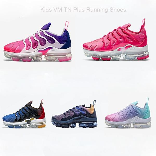 2018 Dantel Kadar 2018 Çocuklar koşu ayakkabıları Üçlü Siyah Gri beyaz Mor Bebek Çocuk yürüyor Run eğitmenler erkek kız tn sneakers