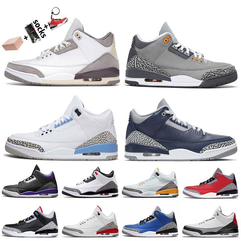 Mit Box Nike Air Jordan 3 3s Jordan Retro 3 2021 Herren Basketballschuhe Hochwertige UNC Georgetown Midnight Navy Red Cement Cool Grau Court Lila Turnschuhe Turnschuhe