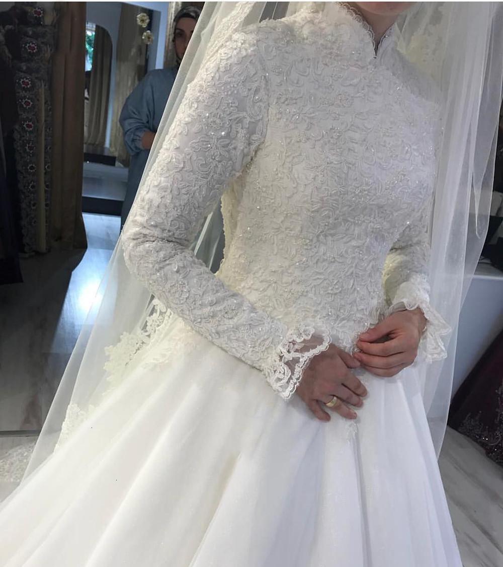 Белый 2021 новый арабский мусульманская свадьба ES принцесса высокая шея длинные рукава кружевные аппликации свадебные платья халат де марок