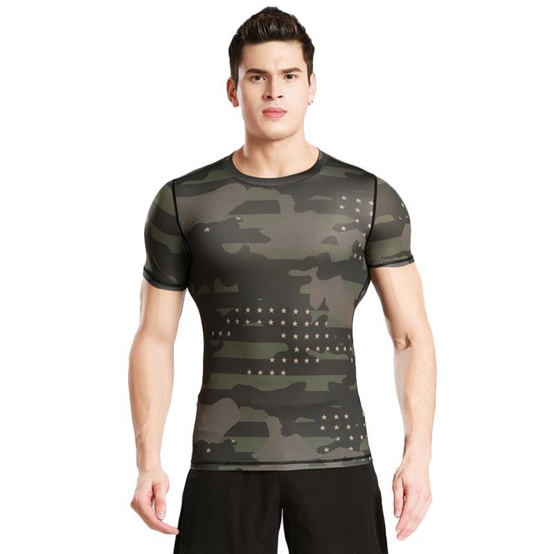 Curtas de manga curta Roupas de fitness roupas de fitness homens de camuflagem ao ar livre roupa de camuflagem suor roupa seca Running t -