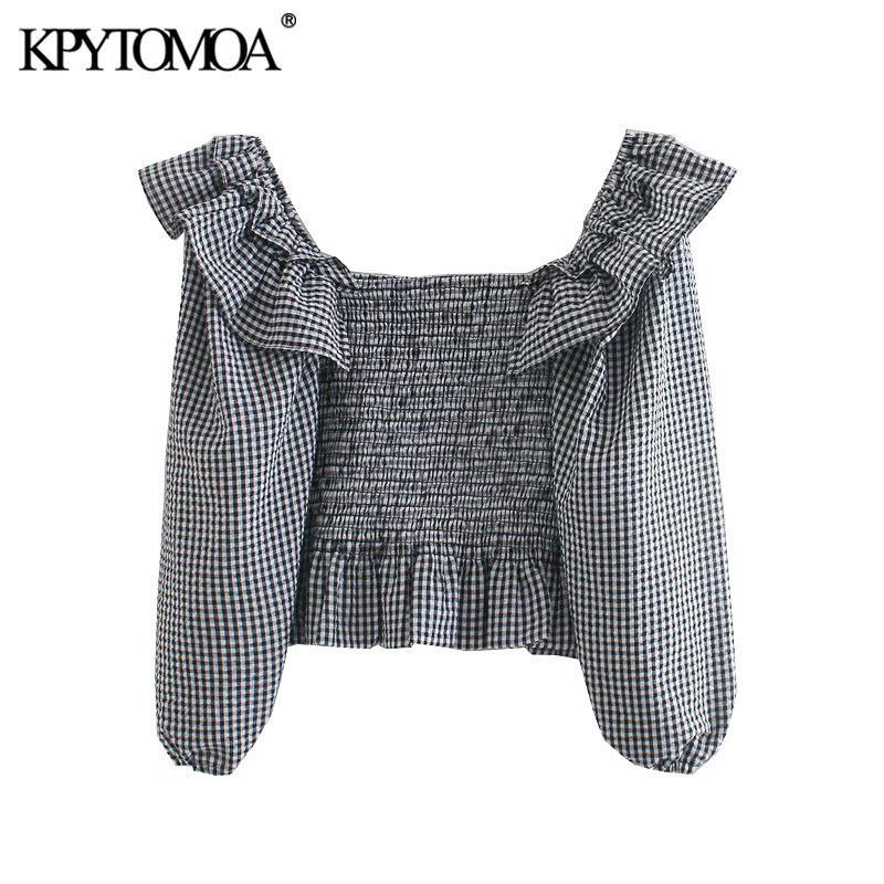 Kpytomoa Donne Moda Elastico Elastico Smocked Ruffled Cropped Blouses Vintage Lantern Manica Plaid Camicie Femminili Blusas Chic Tops 210226