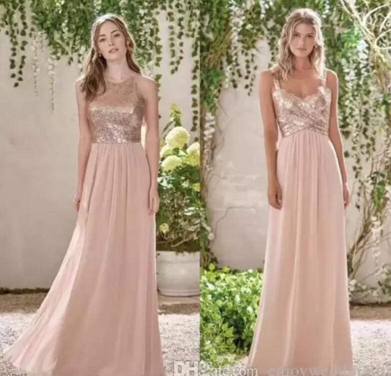2021 GLITZ Gül Altın Payetli Gelinlik Modelleri Uzun Şifon Halter Bir Çizgi Sapanlar Ruffles Allık Pembe Hizmetçi Onur Düğün Misafir Elbise