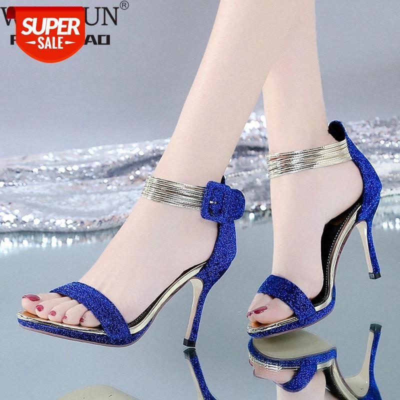 Summer Femmes Pompes Sexy Toe Open Toe Super High High Heel Sandales Mesdames à talons minces Simple Single Chaussures Sandalen Haute Sandalen 2020 # WK9R