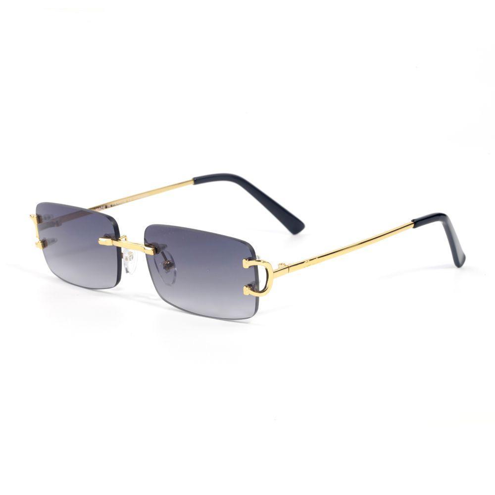 النظارات النظارات المعدنية إطار بدون شفة للإطار للرجال النساء الذهب القراءة وصفة النظارات النظارات مصمم النظارات الشمسية مع مربع