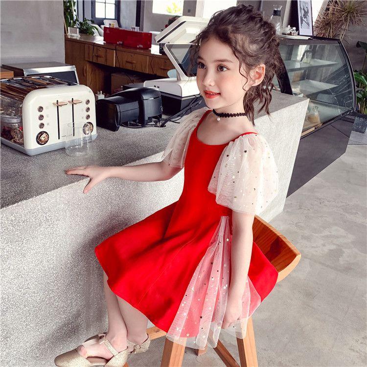 Горячие красные вечеринки платье для девочек шифон летом TUTU лоскутное танцевальное платье дети вечером платья на день рождения на 4 7 8 9 12 14 года 210303