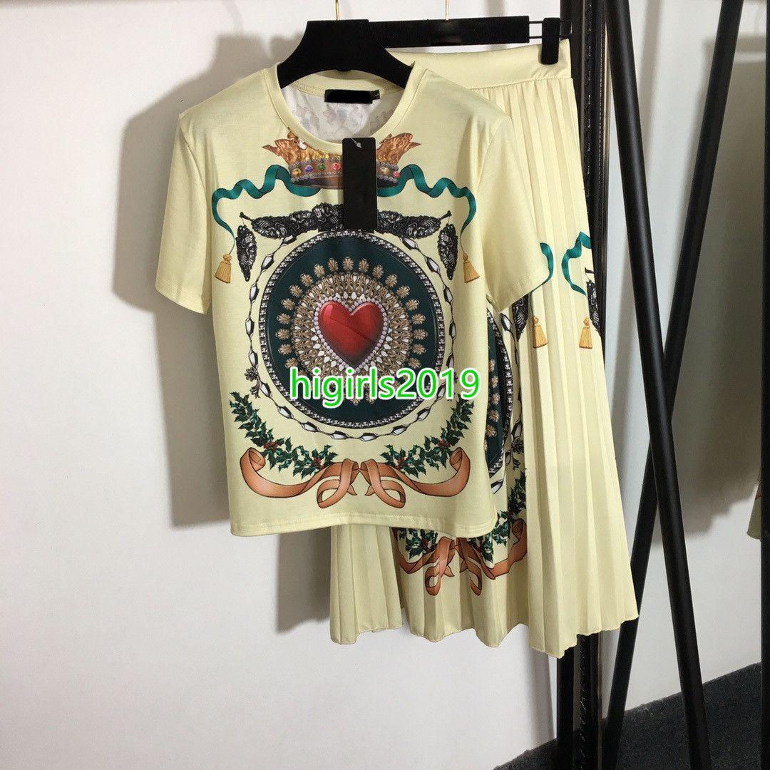 Mujeres Chicas camisetas Tops Corazón Impresión Tees Blusa Floja de manga corta Camiseta + Falda plisada de alta cintura Dos piezas Vestido de dos piezas Conjunto Retro Traje Amor