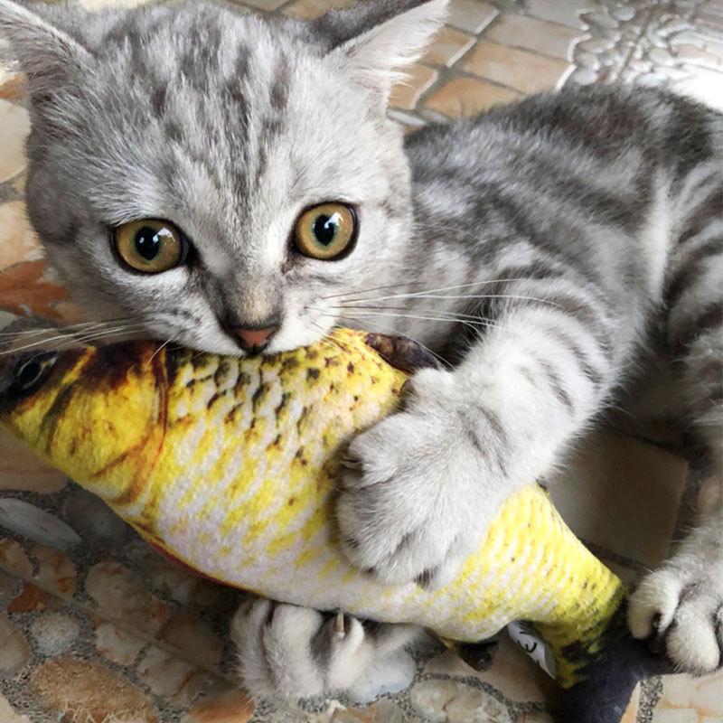 ПЭТ мягкие плюшевые 3D формы рыбы кошка укуса укусая игрушка интерактивные подарочные рыбы котник игрушки фаршированные подушки куклы моделирования рыбы играют игрушку 128 v2