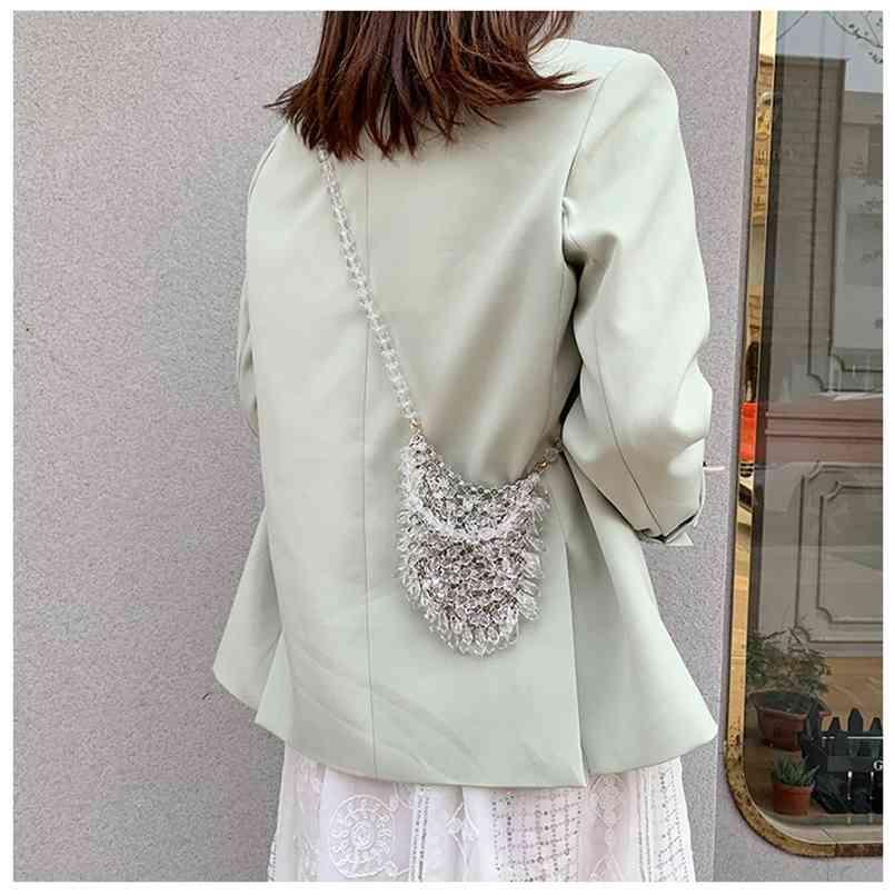 Borse da sera Pochette in rilievo Piccole borse da donna Portafoglio da donna Trendy Texture Trasparente Borsa a tracolla con spalla trasparente Handmade 210823