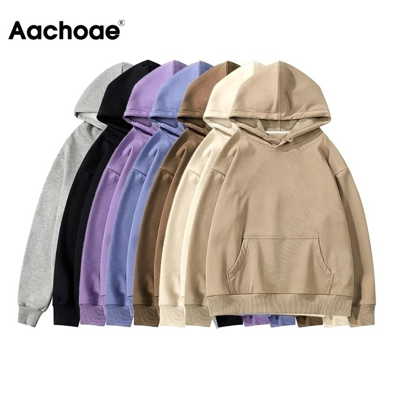 Aachoae Women Fleece Hoodies Sweatshirt Winter Solid 100% Cotton Hooded Sweatshirt Casual Loose Jumper Pullover Jacket 201017