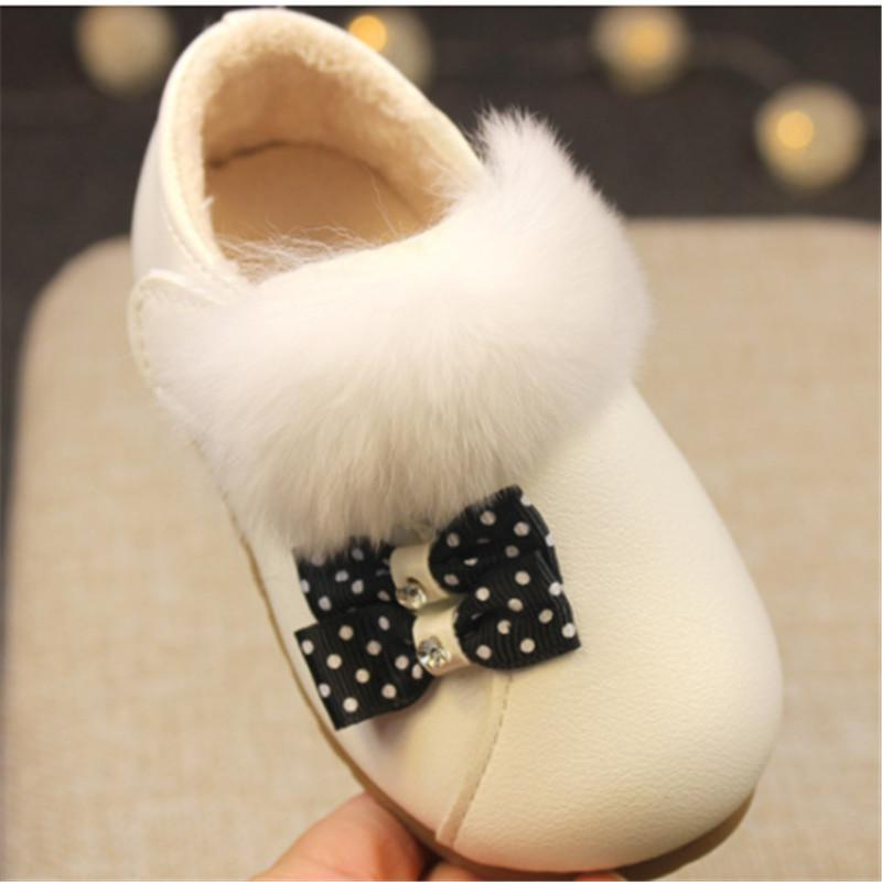 Sneakers Toddler Kids Girls Shoes Soft Fur Leather Children Princess Autumn Winter Infant Size 15-30