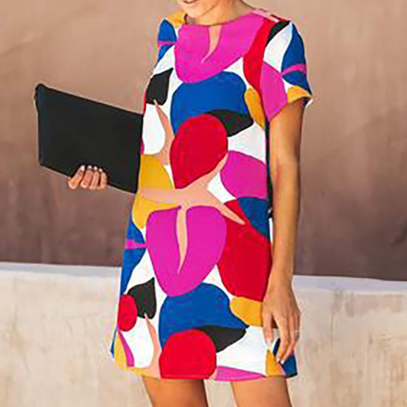 여성 여름 새로운 스타일 라운드 넥 반팔 서스펜 스커트 멀티 컬러 스티치 인쇄 드레스 여성 크기 S-XL